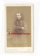 CDV De 1875-dédicacée- Beau Portrait Esthétique-soldat 125e R Sur Col-look Second Empire-photo Husson à Sedan - Krieg, Militär