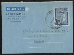 Pakistan Stationery 1968 Air Mail Postal Used 15 Paisa  Aerogramme  Lahore To Karachi