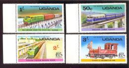 UGANDA SCOTT MINT N H # 155-8  ( RAILWAY  TRAINS - Uganda (1962-...)