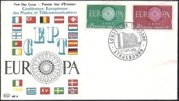 Env Fdc 17/9/60 Conseil De L'europe Strasbourg ,N°1266-7, Europa, La Nouvelle Europe, , Drapeau - 1960-1969