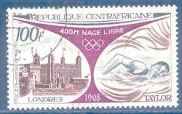 Centrafrique Poste Aérienne N°113 - Rétrospective Des Jeux Olympiques - Londres 1908 - 400m Nage Libre Oblitéré
