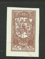 1921 Mittellitauen Central Lithuania Michel 38 PROOF Probedruck Essay On Thick White Paper (*) - Litauen