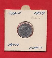 SPAIN. 1959   Circulated Coin XF, 10 Centimos Aluminium, Km790 - [ 5] 1949-… : Kingdom