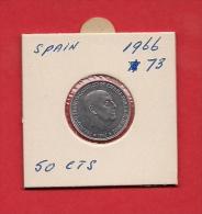 SPAIN. 1966,  Circulated Coin XF, 50 Centimos Aluminium, Km795 - [ 5] 1949-… : Kingdom