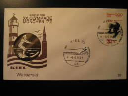 Kiel 1972 WATER SKIING Demonstration Ski Olympic Games Munchen Germany Olympics Cancel Cover - Water-skiing