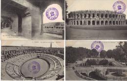 NIMES / LOT DE 8 CPA - ARENES - JARDIN DE LA FONTAINE - BAINS ROMAINS (TAMPON MUSEE DE NIMES) - Nîmes