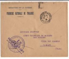 Lettre 1935 Ministère De La Guerre ( Poudrerie Nationale De Toulouse ) - Marcophilie (Lettres)