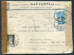 1943 Turkey Galata Aleppo Levant Censor Cover -  New York USA - Covers & Documents