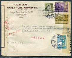 1944 Turkey Galata French Levant Beirut Censor Cover -  New York USA - 1921-... Republic