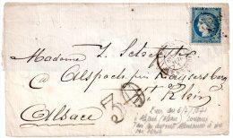 Fragment Lettre Avec N°37 Siège Paris Oblitéré étoile 4 Paris 4 Juilet 1871 Pour Kaysersberg Alsace Avec Taxe Tampon 30 - 1870 Siège De Paris