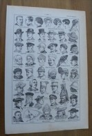 Planche Larousse Illustré 1934- COIFFURES - Chapeau Casquette Képi Toque Magistrat Bonnet Marin Melon Panama Casque - Vieux Papiers