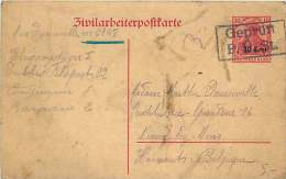 1916 Etappiengebiet West   Zivilarbeiterpostkarte  MiNrP 6 I Geprüft - Besetzungen 1914-18