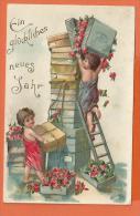 FEL304, Enfants Cadeaux, Relief,  Circulée 1905 - Nouvel An