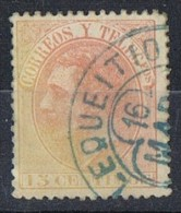 Sello 15 Cts Alfonso XII 1882, Fechador Trebol LEQUEITIO (Vizcaya),  Num 210 º - Usados