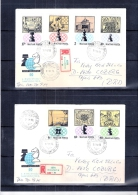 2 Lettres recommand�es de Hongrie vers BDR - Echecs - S�rie compl�te (� voir)