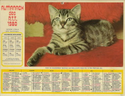 Calendrier De La Poste (chat, Chien) - Big : 1971-80