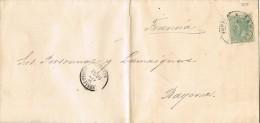 5651. Carta Entera Impresos SANTIAGO (Coruña) 1886 A Bayonne (Francia) - Cartas