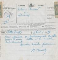 725/21 -  Formule De Télégramme Vers Notaire à HERCHIES - RARE Cachet Linéaire De Fortune 1919 ERBISOEUL - Télégraphes