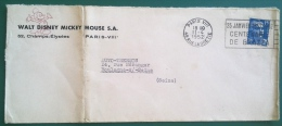 Enveloppe 1952 WALT DISNEY MICKEY MOUSE 52 Champs-Elysées PARIS - Disney