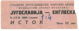 Sport Match Ticket (Football / Soccer) - Yugoslavia Vs England: Veterans 1969-06-09 - Tickets & Toegangskaarten