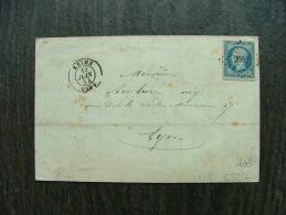 LETTRE AVEC N° 15 EMPIRE DE REIMS MARNE   1854 COVER - Storia Postale