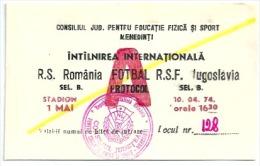 Sport Match Ticket (Football / Soccer) - Romania Vs Yugoslavia: B Selections 1974-04-10 - Tickets & Toegangskaarten