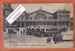 Carte Postale 75. Paris  Gare De L'Est Et L'entrée Du Métro  Trés Beau Plan - Pariser Métro, Bahnhöfe
