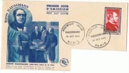 18/10/1952 - FDC - Enveloppe Lettre - Premier Jour - 75 Paris - Le Baron Haussmann, Préfet  - Yvert Et Tellier N° 934 - FDC