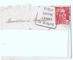 Enveloppe Lettre - Petit Format  6,5 Cm X 9 Cm  - Pour St-Aubin-lès-Elbeuf - ELBEUF Centre Lainier - Oblitérations Mécaniques (flammes)