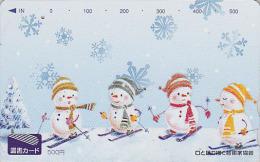 Carte Prépayée Japon - NOEL - Bonhomme De Neige à Ski - CHRISTMAS Snowman Japan Prepaid Card - WEIHNACHTEN - 315 - Christmas