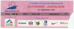 Sport Match Ticket (Football / Soccer) - Slovakia Vs Yugoslavia: European Championship Qualifications 1997-09-10 - Biglietti D'ingresso