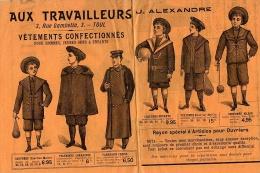 """PUBLICITE Pour CONFECTION MODE HOMME OUVRIER HIVER 1903  Grands Magasins """" AUX TRAVAILLEURS """" 54 TOUL - Patterns"""