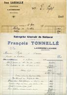 Lavernose, Lacasse, 2 Factures, Charpentier, Lassalle, Tonnelé, Bâtiment,1947 - France