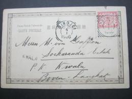 1906, Karte   Stempel KWALA,  2 Nadellöcher - Niederländisch-Indien