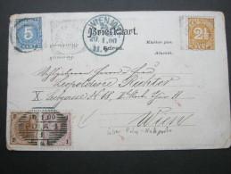 1900, Karte Nach Wien Mit Nachfrankatur - Nederlands-Indië