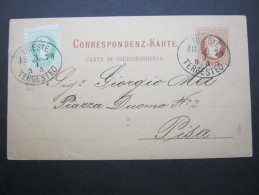 1879, TRIEST,  Stempel Auf Karte Nach Pisa - Briefe U. Dokumente