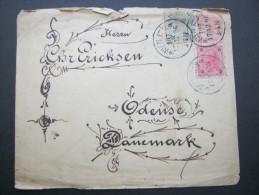 1896, Ganzsache Nach Dänemark, Mängel - Briefe U. Dokumente