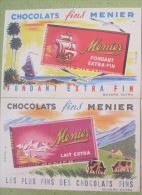 Buvards Chocolat Menier Lait Noisettes Fondant Oranges Lot De 2 - Papel Secante