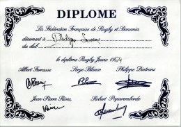 1964 Diplôme FEDERATION FRANCAISE De RUGBY & BANANIA - Unclassified