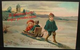 AK  Neujahr 1912 / Kinder /  Schlitten  / Schnee  /,Künstler-karte . - Anno Nuovo