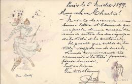 8537 - Art Nouveau Illustrateur Henri Boutez Femme  Dansant Et Lapin  En 1899 - Illustrateurs & Photographes