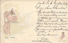8538 - Art Nouveau Illustrateur Henri Boutez Femme Devant Fenêtre  En 1899 - Illustrators & Photographers