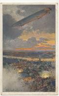 Zeppelin Sur Anvers Antwerpen 1914 WWI Guerre 14 Deutscher Lufthotten Berein Ill. Eckenbrecker - Dirigeables