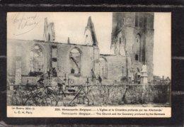 """43705  Belgio,  La  Guerre 1914-15 - Ramscapelle -  L""""Eglise Et  Le Cimetiere Profanes  Par Les  Allemands,NV(scritta) - Zeebrugge"""
