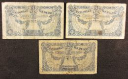 B00255 NBBB-3 06/06/1922 29/12/1920 25/11/1920 B *1/2 3 Billets - [ 2] 1831-... : Regno Del Belgio