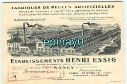 Br - 54 - NANCY - établissement Henri ESSIG - Fabrique De Meules - Toiles Et Papiers à Polir - RARE DOCUMENT - Nancy