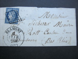1851,  BLAMONT ,  Fragment - 1849-1850 Ceres