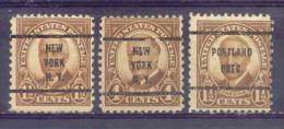 ETATS-UNIS  Préo NEW YORK Yvert  N° 292-293 Et PORTLAND  Yvert N° 292  Sans Gomme - Vereinigte Staaten