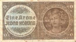 BILLETE DE CHECOSLOVAQUIA DE 1 KRONE SERIE C 026 (BANKNOTE) - Checoslovaquia