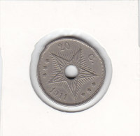 20 CENTIMES Cupro-nickel CONGO-BELGE 1911 - Congo (Belge) & Ruanda-Urundi